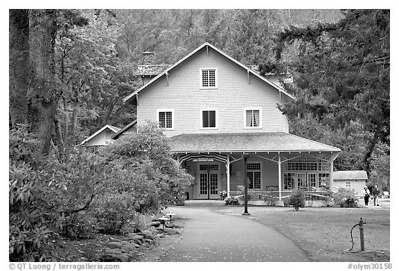 Crescent Lake Lodge dining hall. Olympic National Park (black and white)