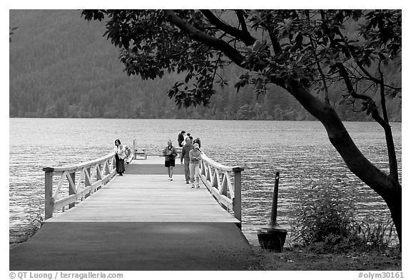 Pier and Crescent Lake. Olympic National Park (black and white)