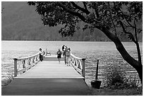 Pier and Crescent Lake. Olympic National Park ( black and white)