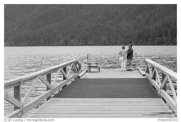 Couple on Pier, Crescent Lake. Olympic National Park (black and white)