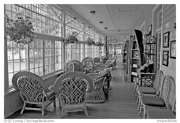 Sun room, Crescent Lake Lodge. Olympic National Park (black and white)