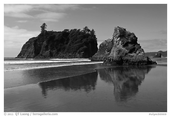 Sea stacks reflected on wet beach, Ruby Beach. Olympic National Park (black and white)