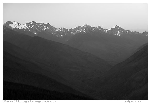 Olympic Mountains at dawn. Olympic National Park (black and white)