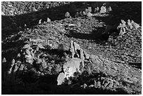 Rock formations and chaparral. Pinnacles National Park, California, USA. (black and white)