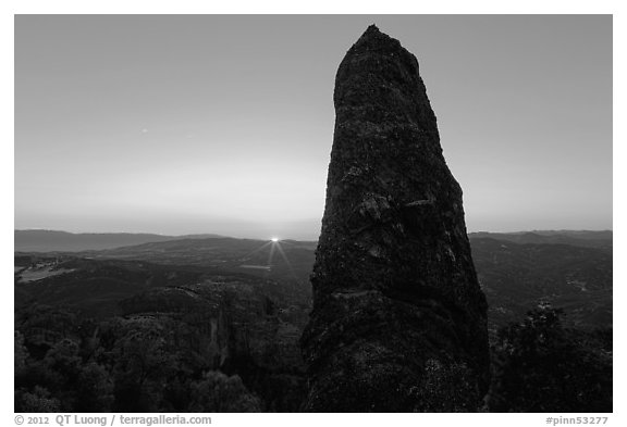 Rock pillar and setting sun. Pinnacles National Park (black and white)