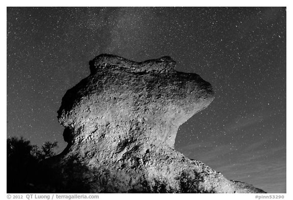 Anvil monolith at night. Pinnacles National Park (black and white)