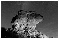 Anvil monolith at night. Pinnacles National Park, California, USA. (black and white)