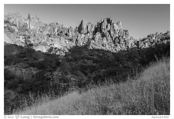 Summer grasses and pinnacles, early morning. Pinnacles National Park (black and white)