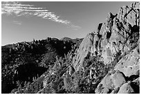 Crags raising above chapparal. Pinnacles National Park ( black and white)