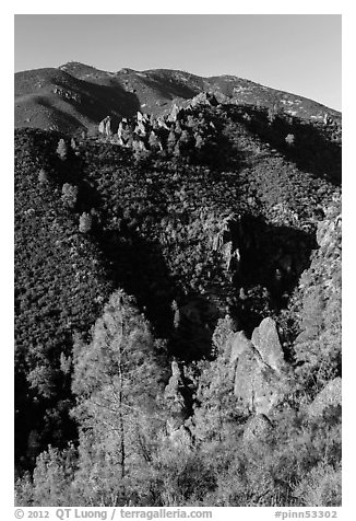 Gabilan Mountains dotted with rock pinnacles. Pinnacles National Park (black and white)
