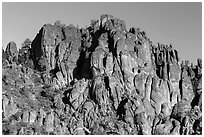 Volcanic rocks form spires and crags. Pinnacles National Park ( black and white)