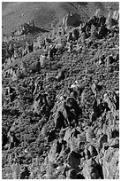 Slope with mediterranean chaparral and rock towers. Pinnacles National Park, California, USA. (black and white)