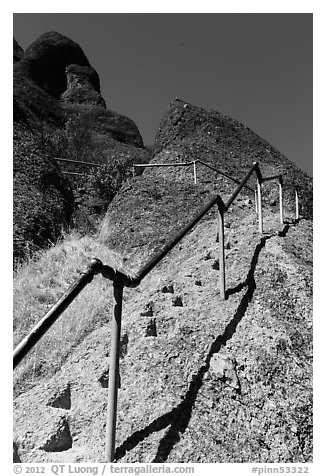 High Peaks trails with stairs carved in stone. Pinnacles National Park, California, USA.