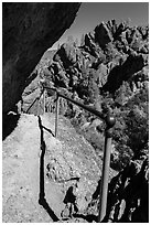Trail on narrow ledge. Pinnacles National Park, California, USA. (black and white)