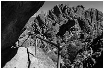 Trail passing under overhanging rock. Pinnacles National Park ( black and white)