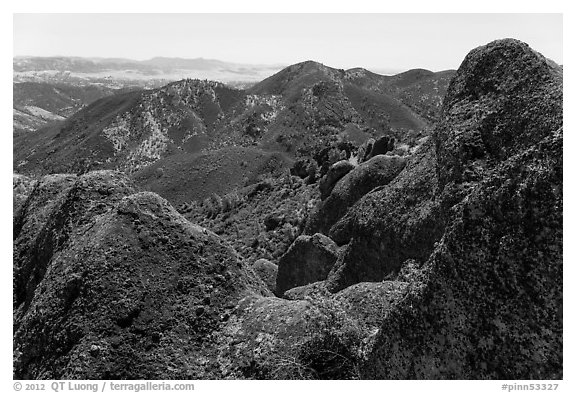 Gabilan Mountains landscape. Pinnacles National Park (black and white)