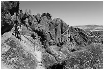 Hikers on rugged section of High Peaks trail. Pinnacles National Park ( black and white)