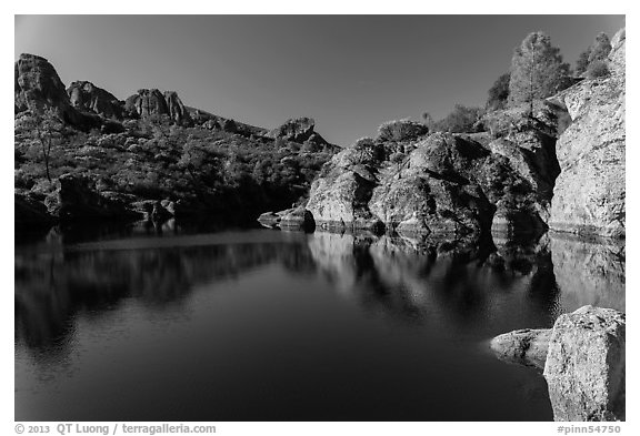 Early morning reflections, Bear Gulch Reservoir. Pinnacles National Park (black and white)
