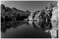 Early morning reflections, Bear Gulch Reservoir. Pinnacles National Park ( black and white)
