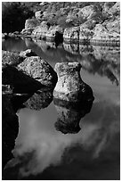 Rocks and reflections, Bear Gulch Reservoir. Pinnacles National Park ( black and white)