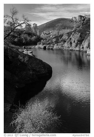 Ripples over water, Bear Gulch Reservoir. Pinnacles National Park (black and white)