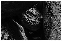 Dark passage with wedged boulder, Balconies Cave. Pinnacles National Park ( black and white)