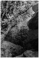 Rocks, Balconies Cave. Pinnacles National Park, California, USA. (black and white)