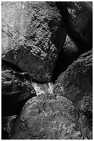 Boulders in Balconies Cave. Pinnacles National Park, California, USA. (black and white)