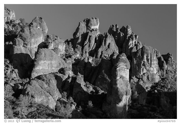 High Peaks spires, late afternoon. Pinnacles National Park (black and white)
