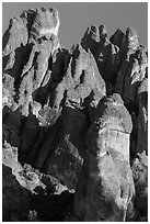 High Peaks towers, late afternoon. Pinnacles National Park ( black and white)