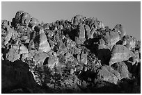 High Peaks pinnacles, late afternoon. Pinnacles National Park ( black and white)