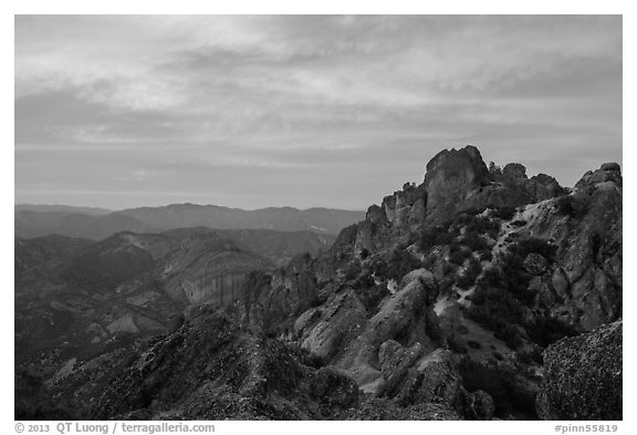 High Peaks at sunset. Pinnacles National Park (black and white)