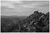 High Peaks at sunset. Pinnacles National Park, California, USA. (black and white)