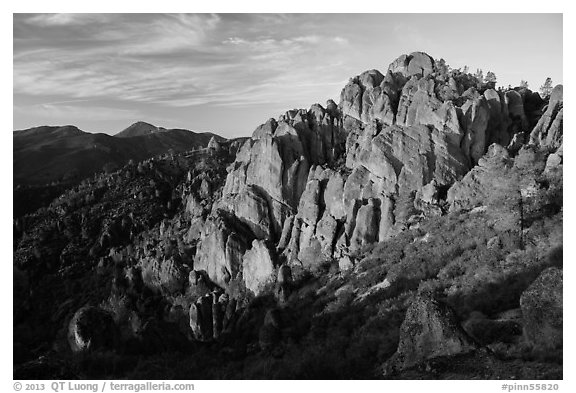 High Peaks at sunrise. Pinnacles National Park (black and white)