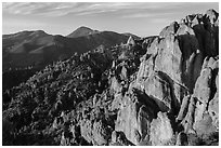 High Peaks with Chalone Peaks in the distance, early morning. Pinnacles National Park, California, USA. (black and white)