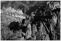 Balconies and Square Block rock, early morning. Pinnacles National Park ( black and white)