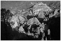 West side seen from High Peaks. Pinnacles National Park ( black and white)