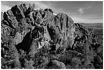 Cliffs and pinnacles. Pinnacles National Park, California, USA. (black and white)