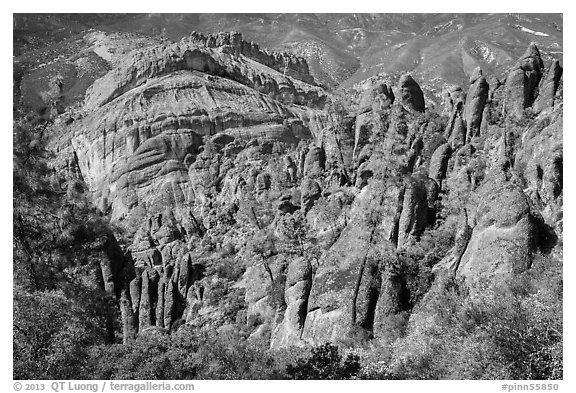 Pinnacles and Balconies cliffs. Pinnacles National Park (black and white)