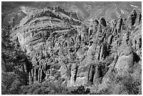 Pinnacles and Balconies cliffs. Pinnacles National Park ( black and white)