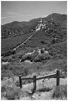 Gate on pig fence. Pinnacles National Park, California, USA. (black and white)