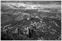 Pinnacles and hills from South Chalone Peak. Pinnacles National Park, California, USA. (black and white)