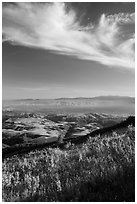 Salinas Valley from South Chalone Peak, late afternoon. Pinnacles National Park, California, USA. (black and white)