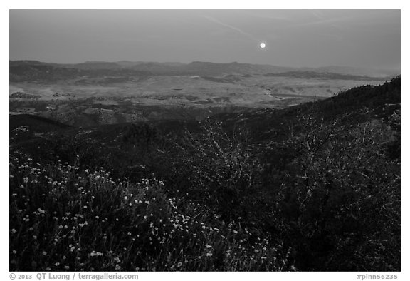 Moonrise from North Chalone Peak. Pinnacles National Park (black and white)
