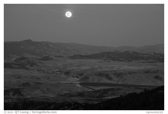 Moon and distant hills from North Chalone Peak. Pinnacles National Park (black and white)