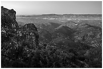 View from North Chalone Peak at dusk. Pinnacles National Park, California, USA. (black and white)