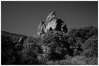 Pinnacle and stars on full moon night. Pinnacles National Park ( black and white)