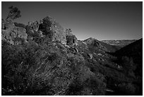 Moonlit landscape with rock towers. Pinnacles National Park, California, USA. (black and white)