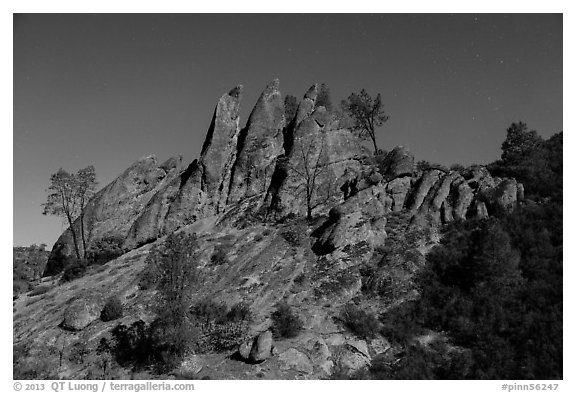 Rock pinnacles by lit by full moon. Pinnacles National Park (black and white)
