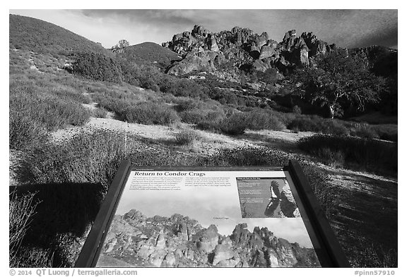 Condor Craggs interpretive sign. Pinnacles National Park (black and white)